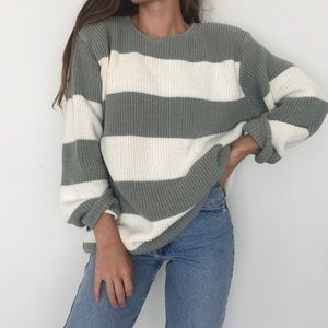 Sage striped chunky knit sweater